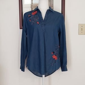 Sonoma Embroidered Chambray Top